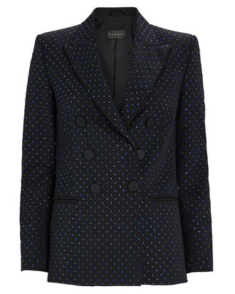 Embellished Double-Breasted Blazer, NAVY, hi-res