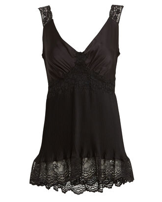 Lace-Trimmed Satin Camisole, BLACK, hi-res