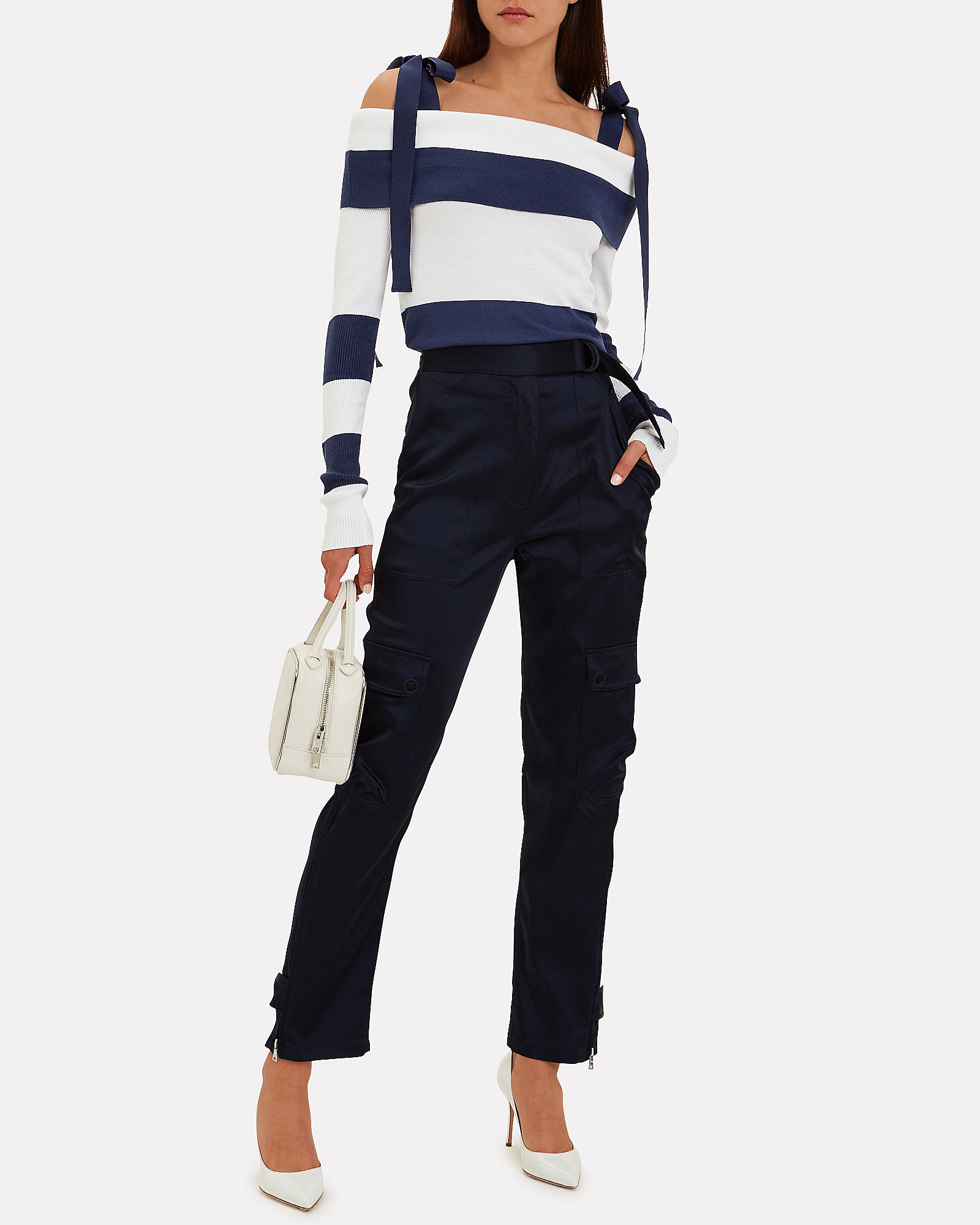 Stripe Tie Shoulder Sweater, NAVY, hi-res