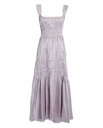 Prisca Taffeta Gingham Midi Dress, PURPLE-LT, hi-res