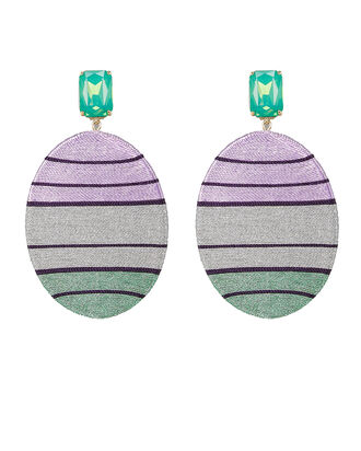 Alex Oval Stripe Earrings, LAVENDER/JADE, hi-res