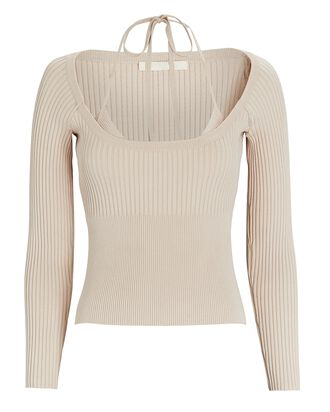 Jayline Layered Rib Knit Top, BEIGE, hi-res