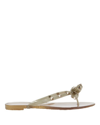Rockstud Jelly Bow Sandals, GOLD, hi-res