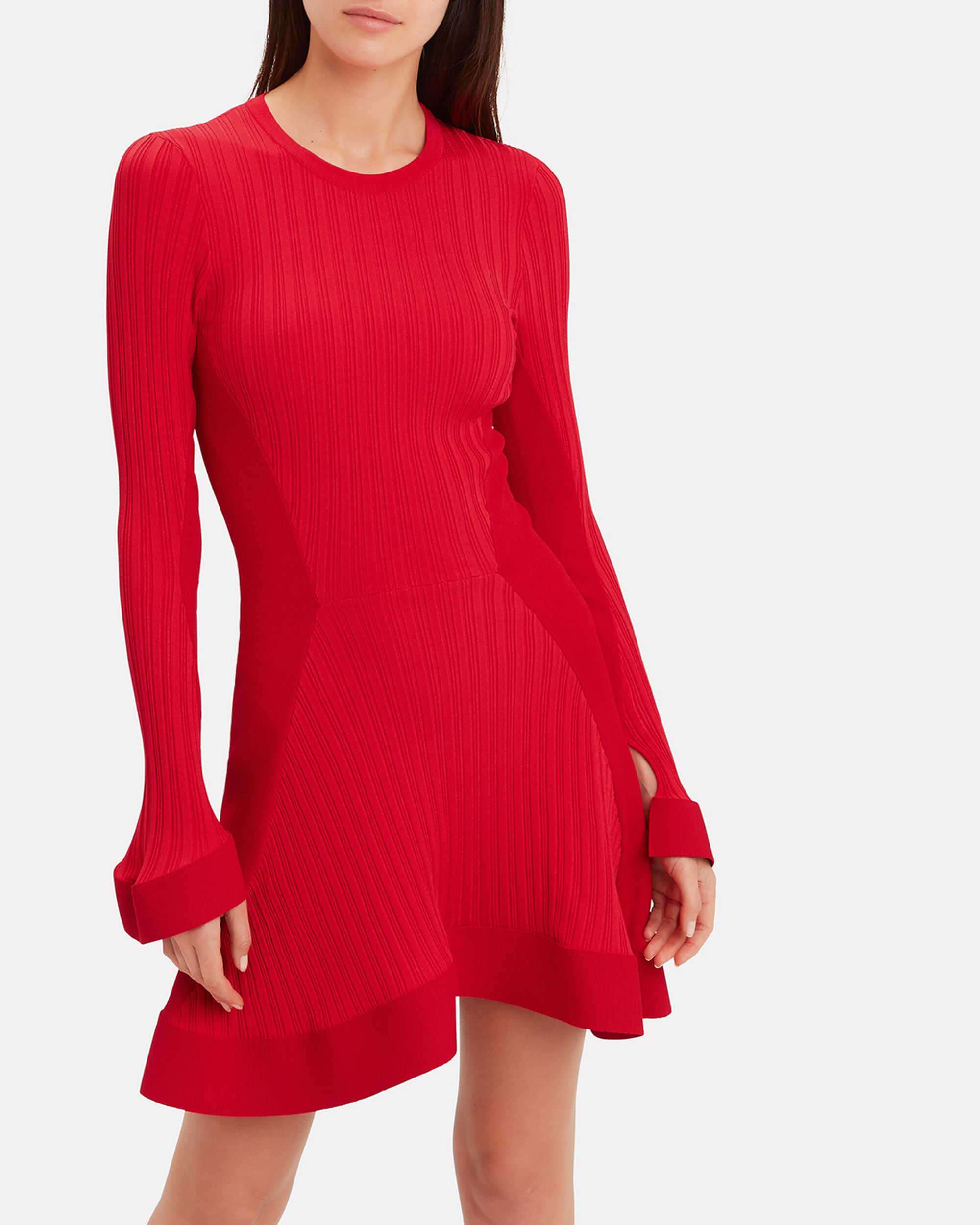 Red Knit Ruffle Hem Mini Dress, RED, hi-res