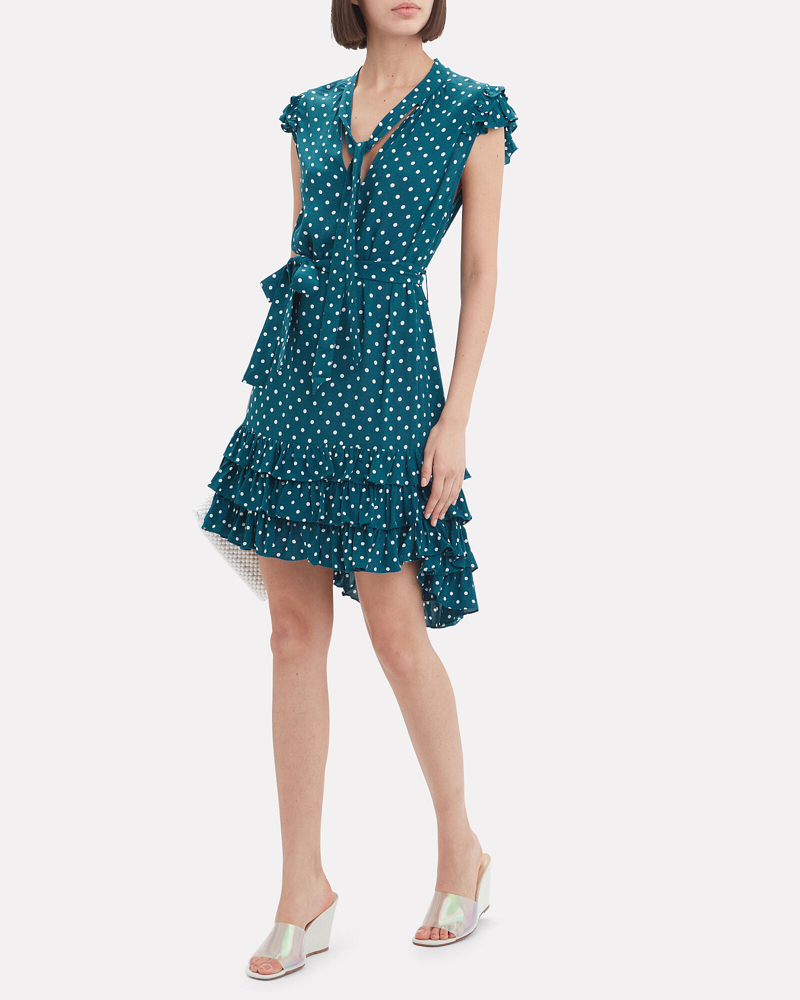 Flutter Sleeve Polka Dot Dress, MULTI, hi-res