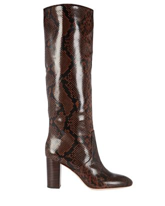 Goldy Knee-High Embossed Boots, BROWN, hi-res