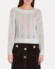 Heather Pointelle Cotton-Blend Sweater, IVORY, hi-res
