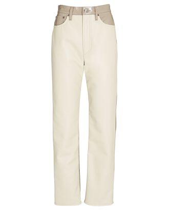 90s Pinch Waist Recycled Leather Pants, BEIGE, hi-res