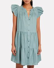 Shannon Tiered Button-Down Dress, SEAFOAM GREEN, hi-res