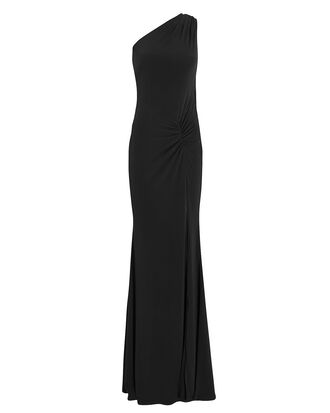 One Shoulder Gown, BLACK, hi-res
