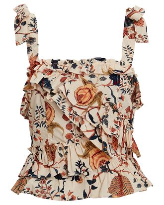 Cleo Ruffled Floral Poplin Tank Top, MULTI, hi-res
