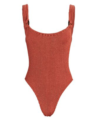 Domino One-Piece Swimsuit, RUST, hi-res