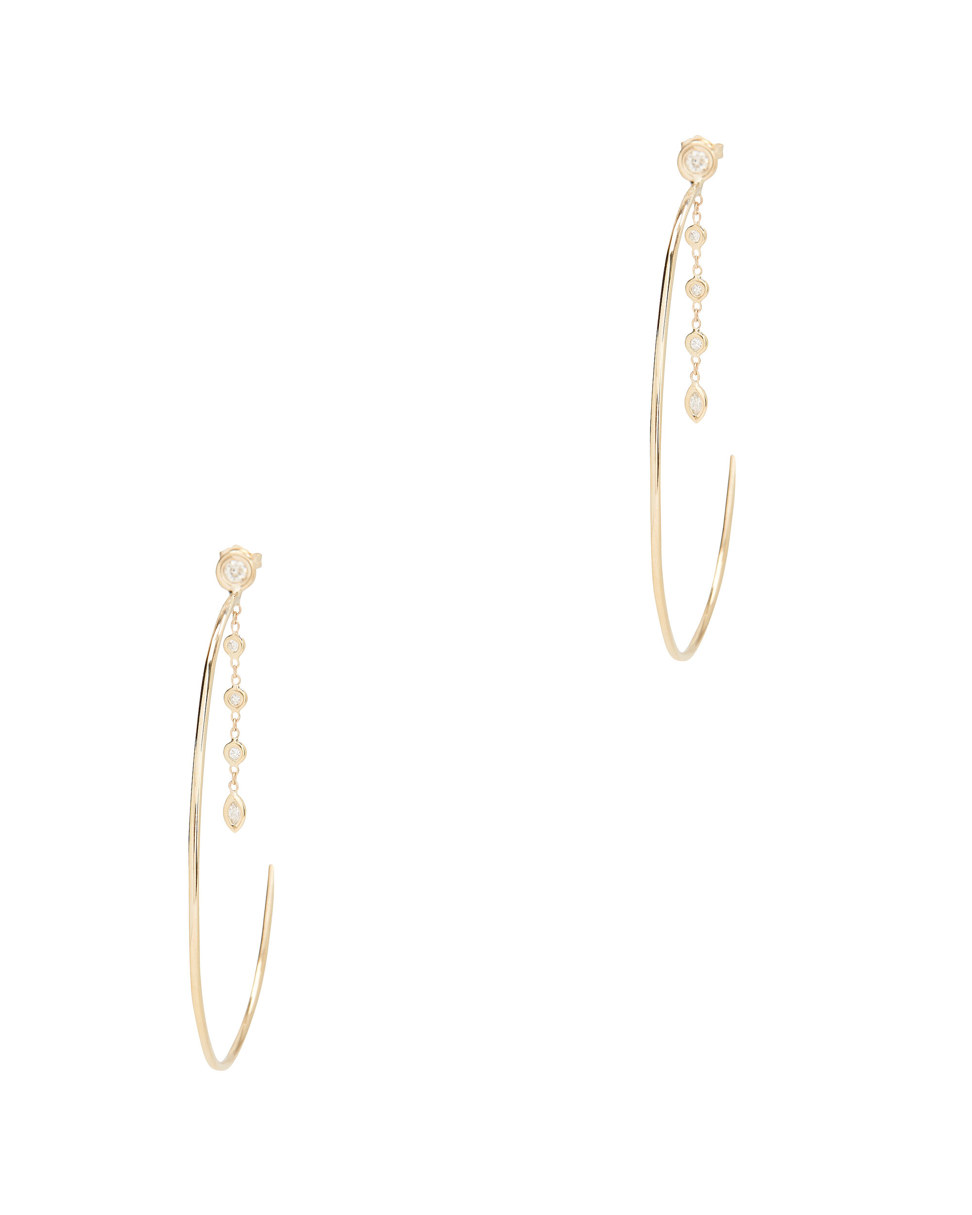 5 Diamond Marquise Drop Hoops, GOLD, hi-res