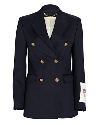 Double-Breasted Wool-Blend Blazer, NAVY, hi-res