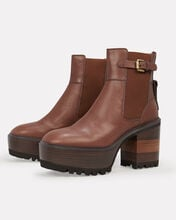 Leather Platform Ankle Boots, BROWN, hi-res