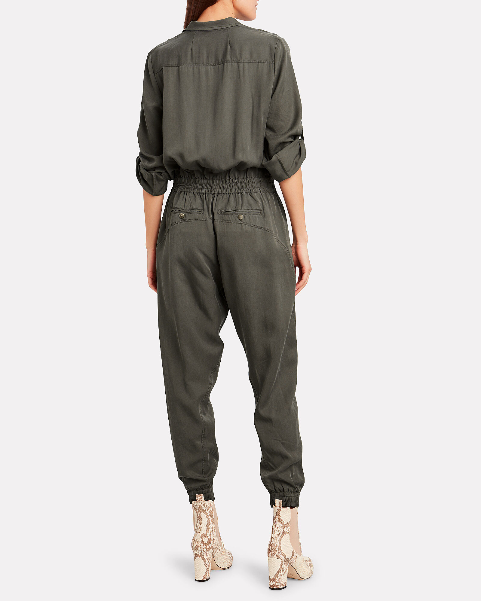 Washed Utility Jumpsuit, OLIVE/ARMY, hi-res