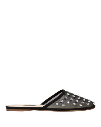 Gina Embellished Mesh Slides, BLACK, hi-res