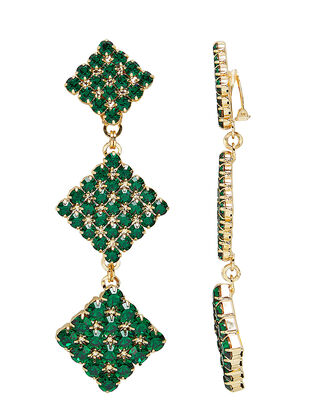 Long Green Crystal Earrings, GREEN, hi-res