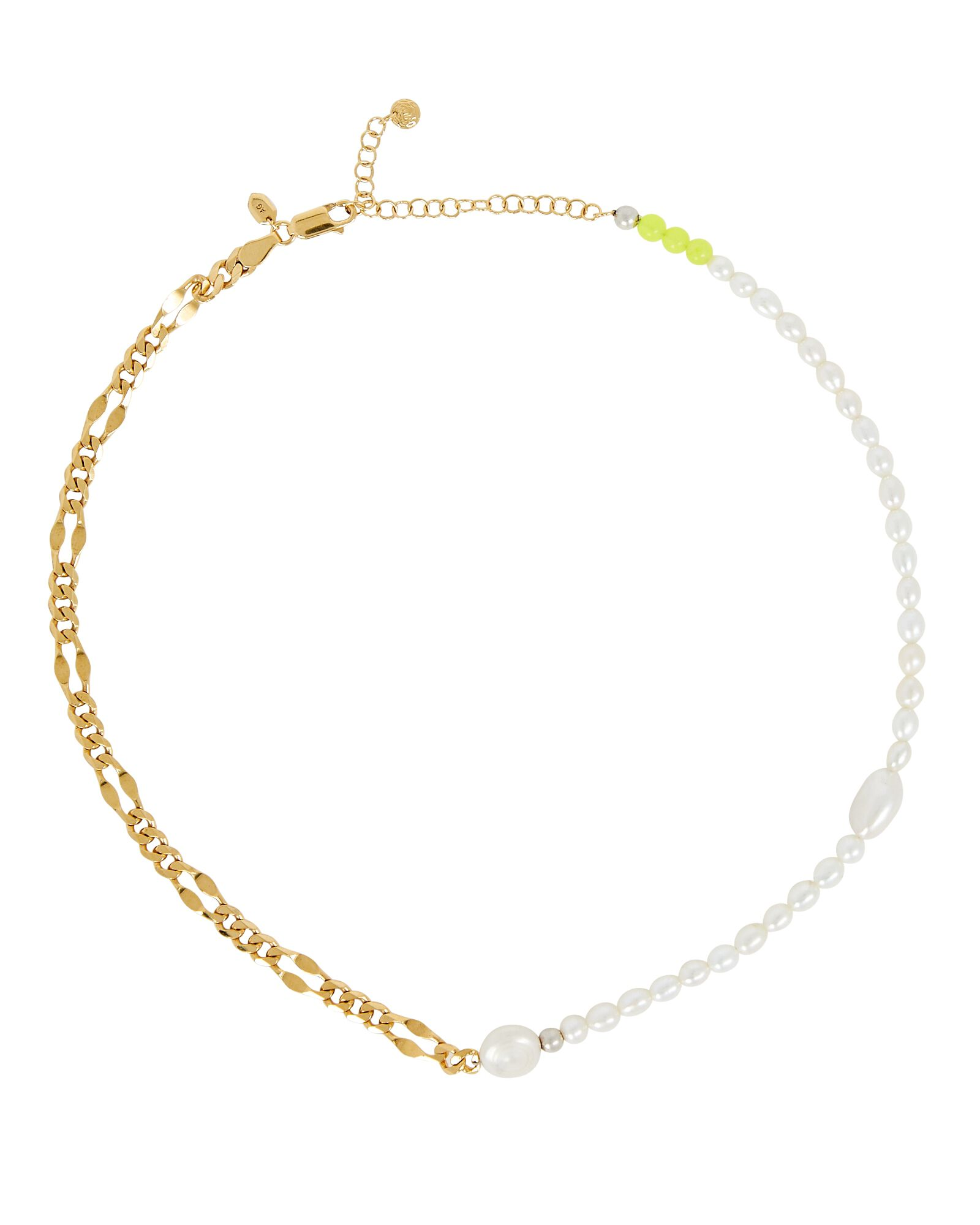 Positano Pearl Chain-Link Necklace, GOLD, hi-res