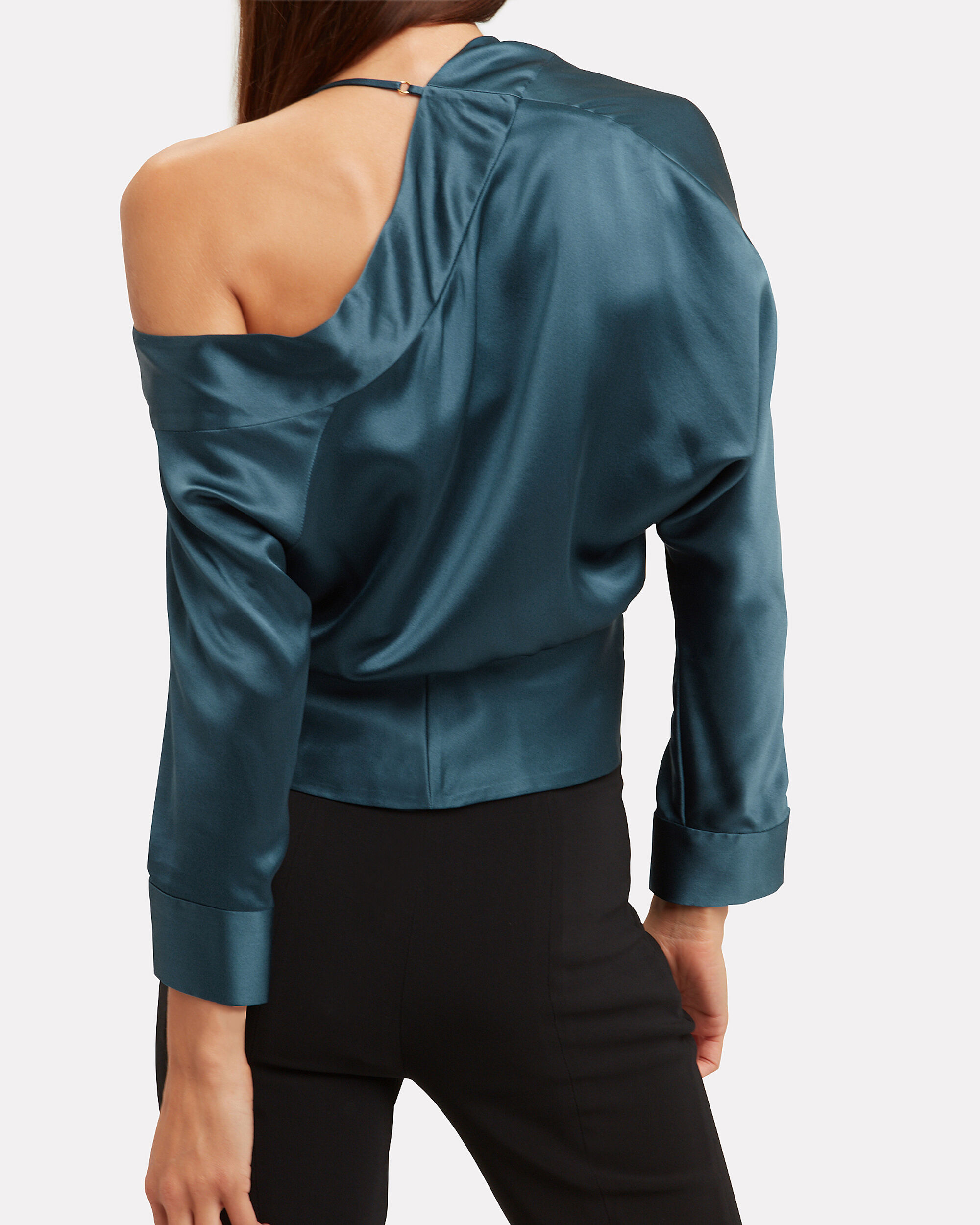 Cold Shoulder Wrap Top, BLUE, hi-res