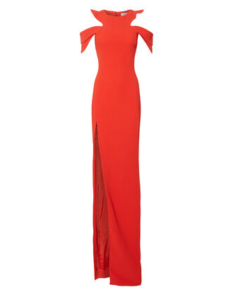 Cold Shoulder Gown, RED, hi-res