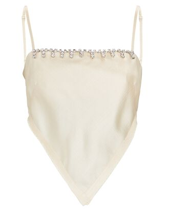 Crystal-Embellished Handkerchief Bandeau Top, IVORY, hi-res
