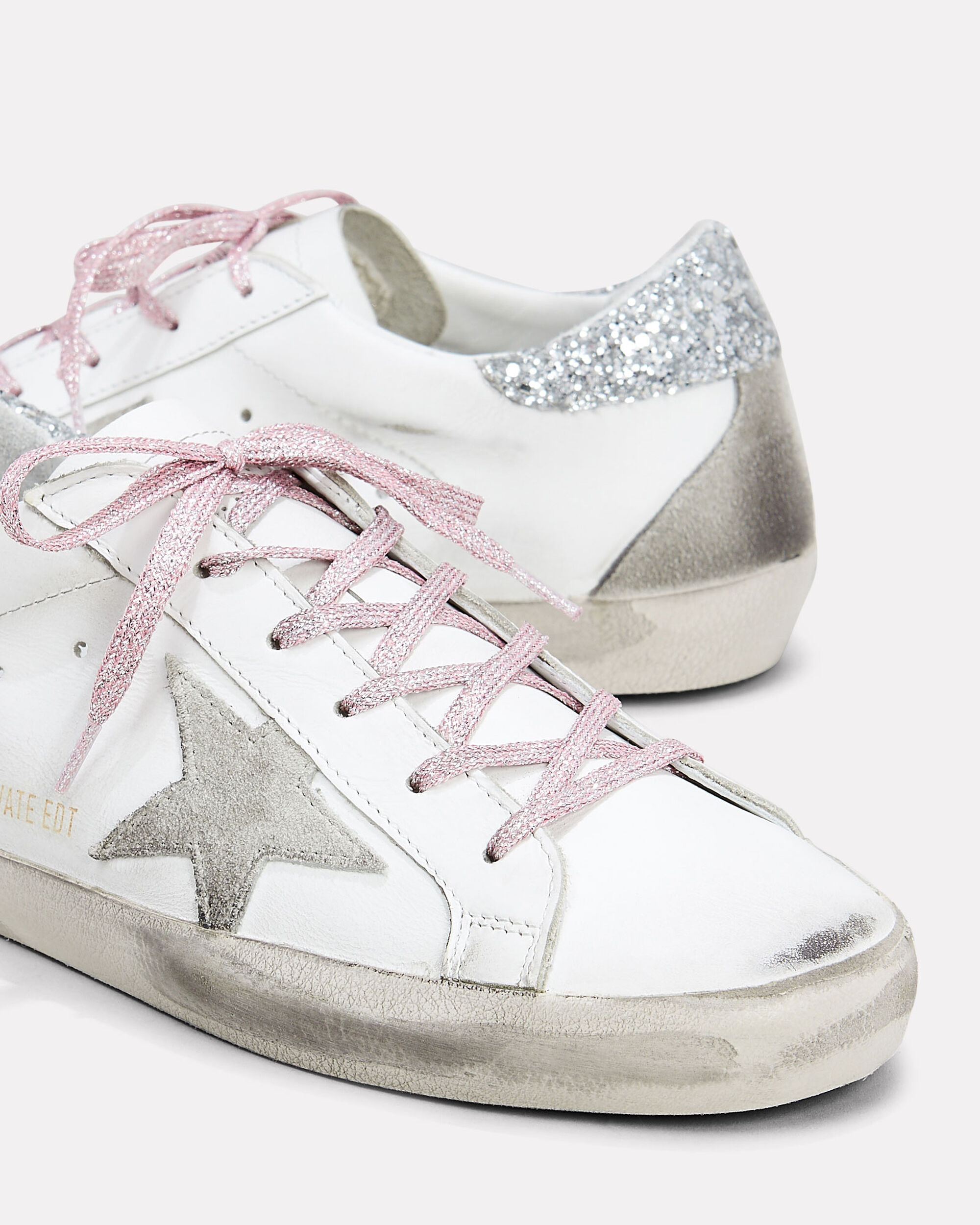 Superstar Pink Glitter Laces Low-Top Sneakers, WHITE/PINK, hi-res