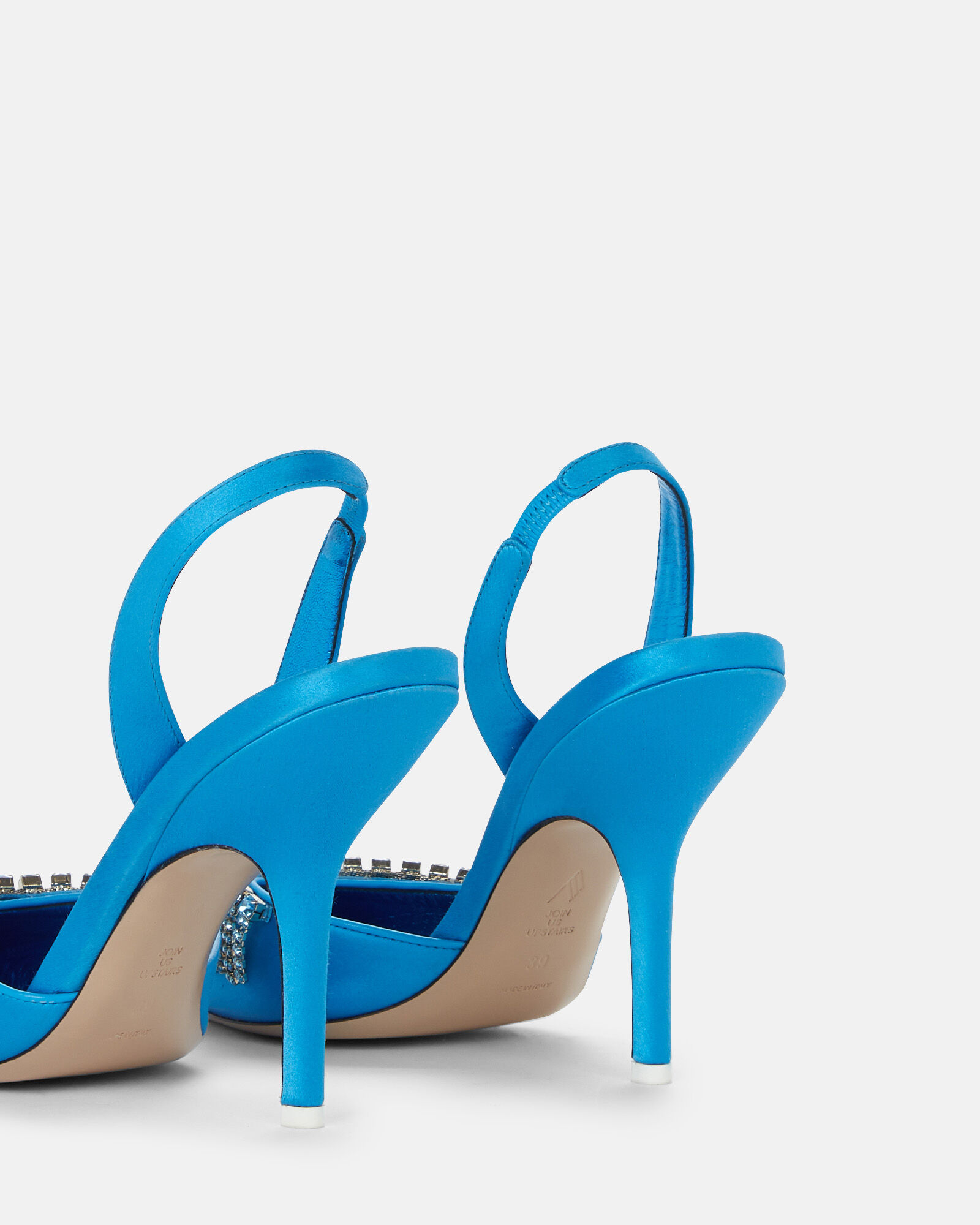 Crystal Fringe Satin Slingback Pumps, AQUA, hi-res