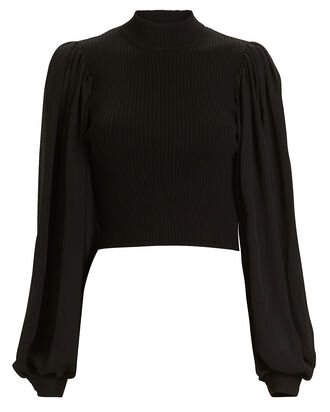 Ariana Rib Knit Balloon Sleeve Top, BLACK, hi-res