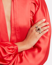 Snake Jewel Double Ring, ROSE, hi-res