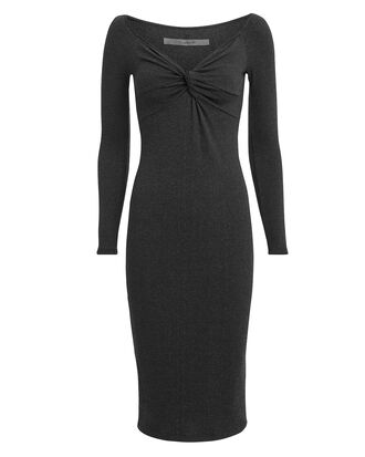Twist Front Midi Dress, GREY, hi-res