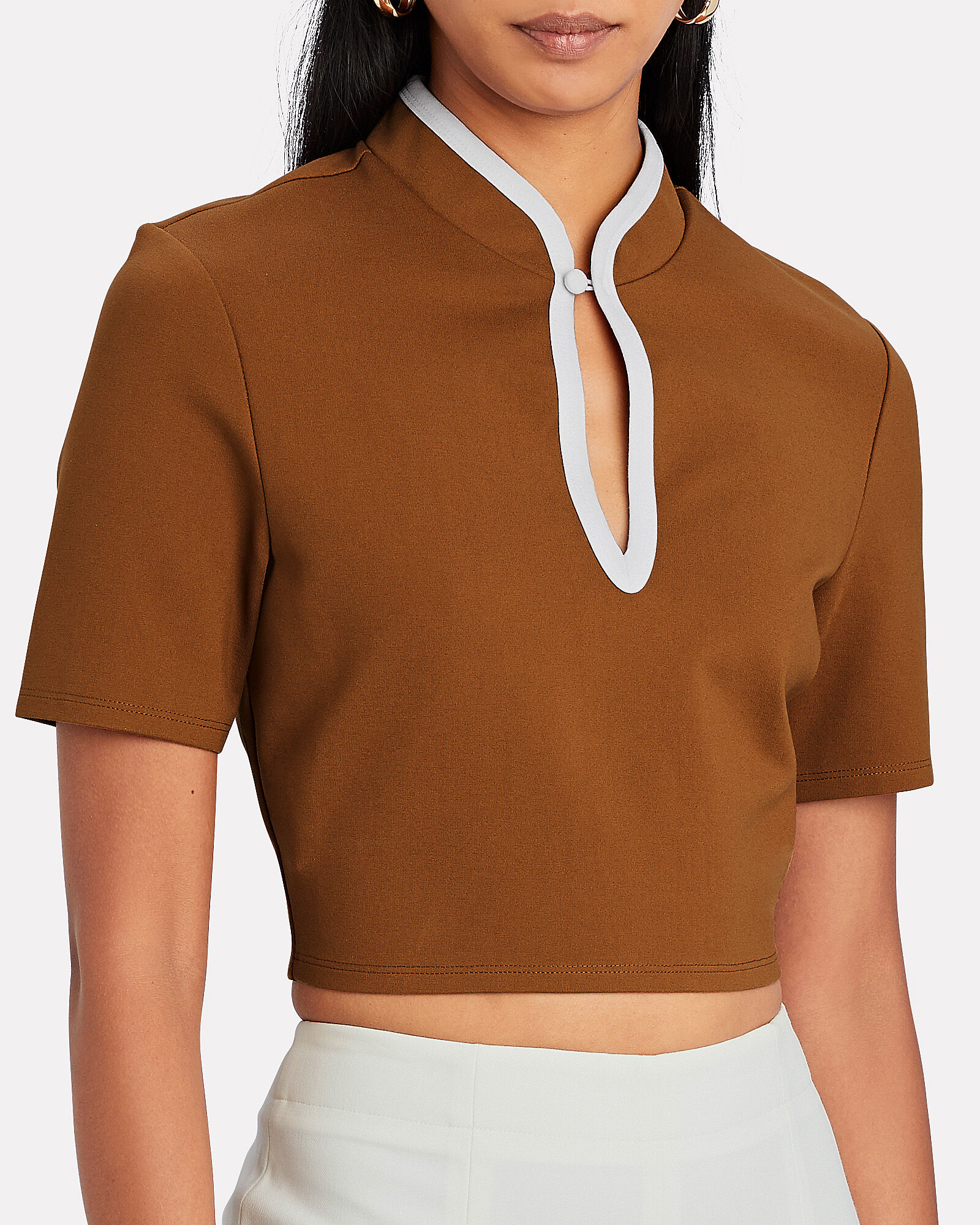 Kiki High Neck Crop Top, BEIGE, hi-res