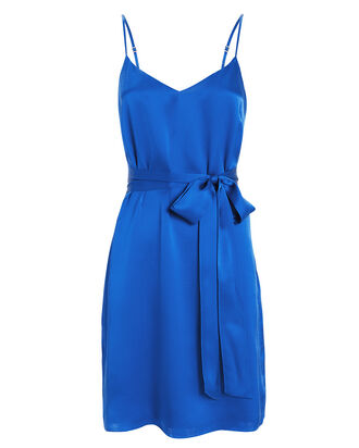 Camil Silk Charmeuse Tie Dress, RIVIERA BLUE, hi-res
