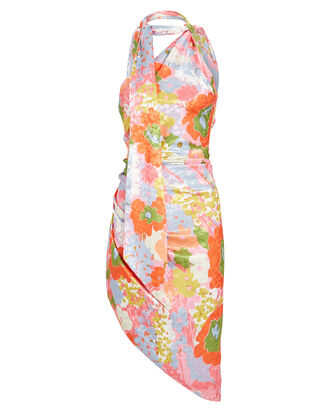 Zoey Floral Asymmetrical Mini Dress, PINK/BLUE, hi-res