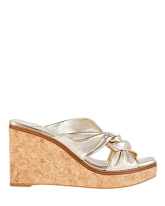 Narisa Leather Platform Wedges, GOLD, hi-res