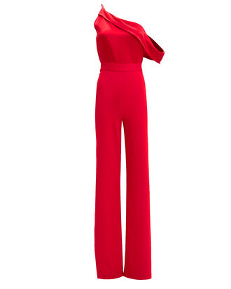 One Shoulder High Slit Jumpsuit, RED, hi-res