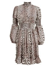 Maxine Smocked Leopard Dress, LEOPARD PRINT, hi-res