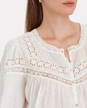 Badyn Lace-Trimmed Cotton Blouse, WHITE, hi-res