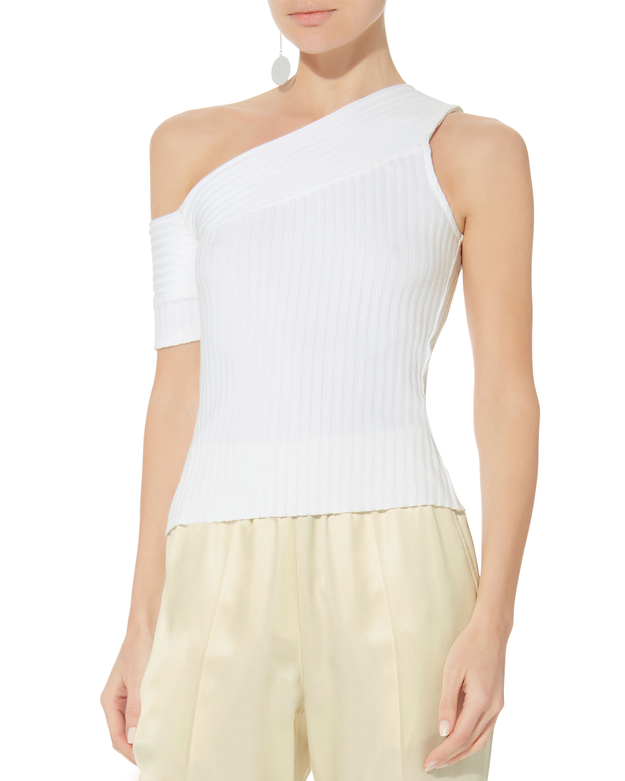 Ribbed One Shoulder Tee, WHITE, hi-res