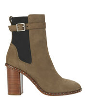 Romi Buckle Accent Beige Booties, BEIGE, hi-res