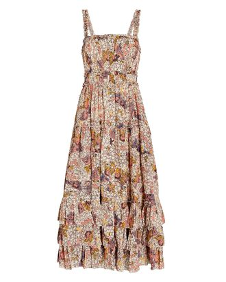 Emmaline Printed Midi Dress, IVORY/BLUSH, hi-res