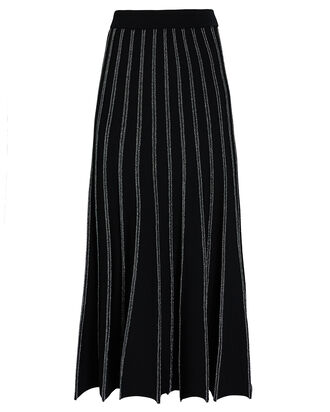 Keelan Pleated Knit Midi Skirt, BLACK, hi-res