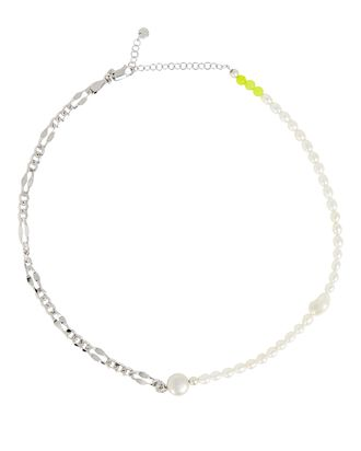 Positano Pearl Chain-Link Necklace, SILVER, hi-res
