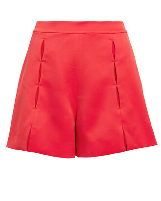 Mikli Split Crepe Shorts, RED, hi-res