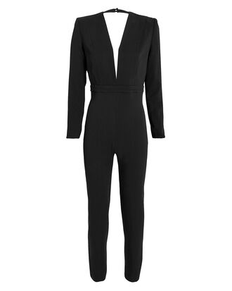 Draped Back Crepe Jumpsuit, BLACK, hi-res