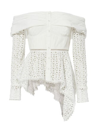 Asymmetric Broderie Top, WHITE, hi-res
