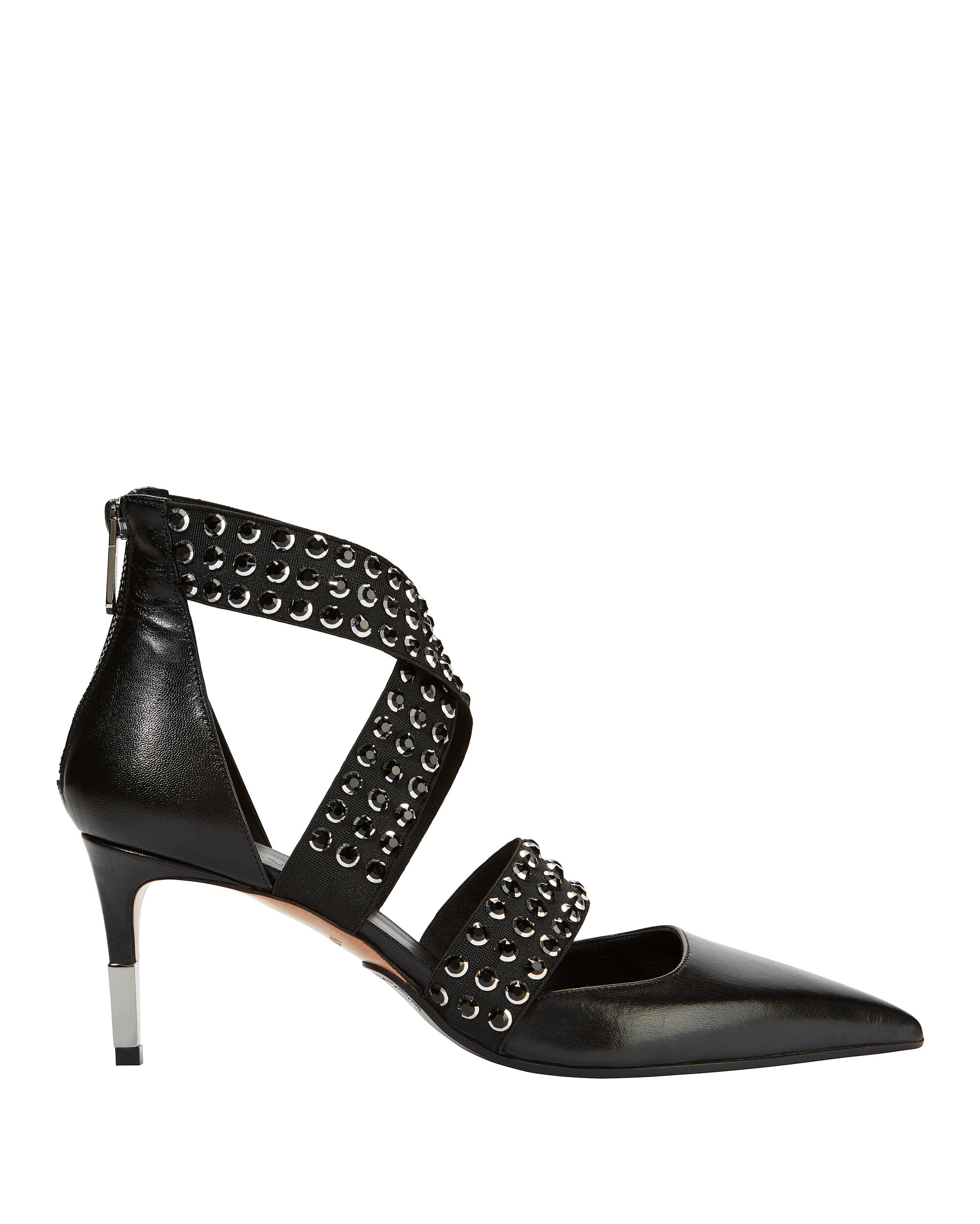 Delphine Studded Strap Pumps, BLACK, hi-res