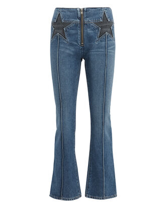 Annabelle Star Crop Flare Jeans, BLUE/BLACK, hi-res