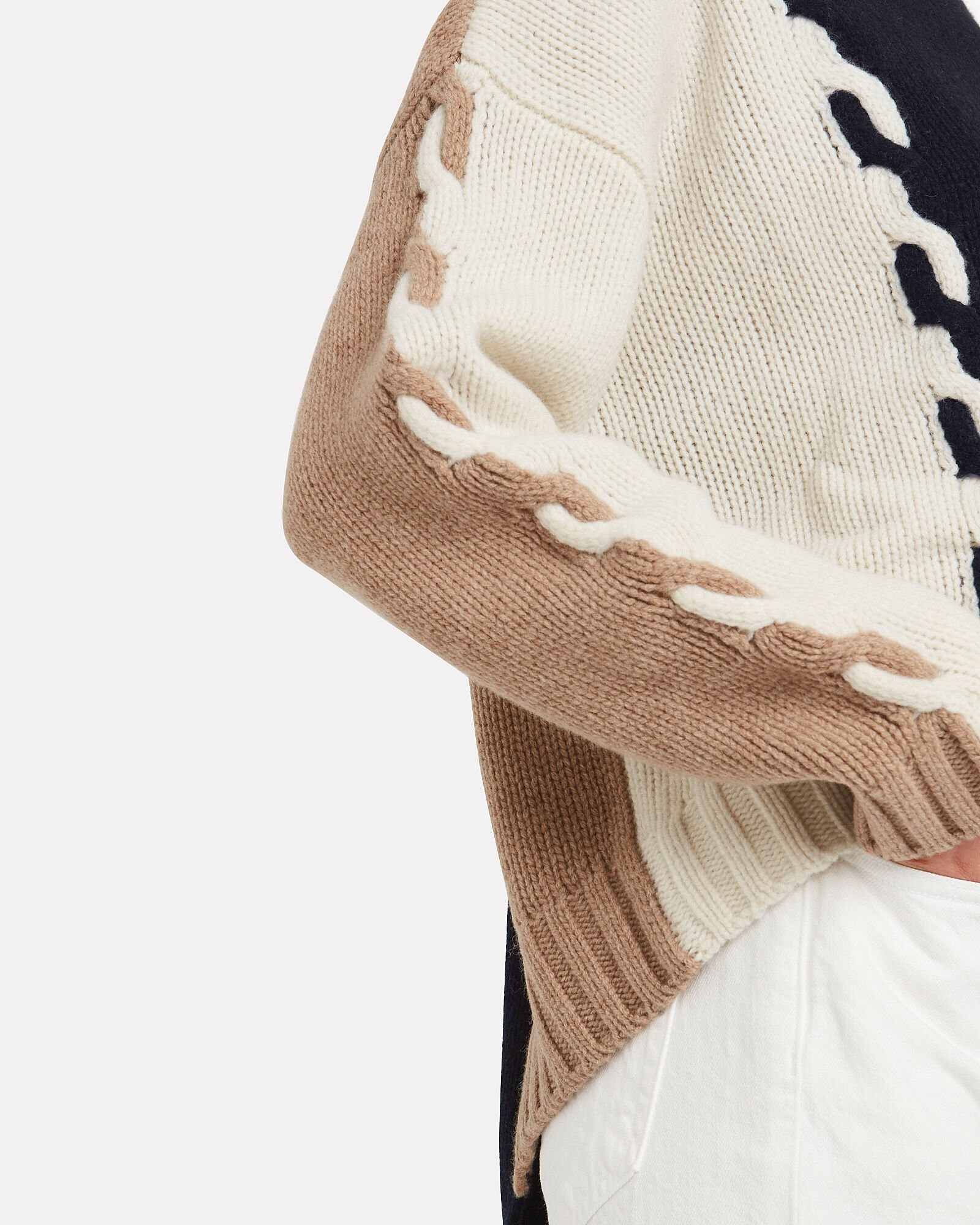 Colorblocked Cable Knit Sweater, NAVY/BEIGE/WHITE, hi-res