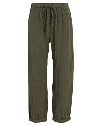 Jak Cropped Cotton Gauze Pants, OLIVE, hi-res